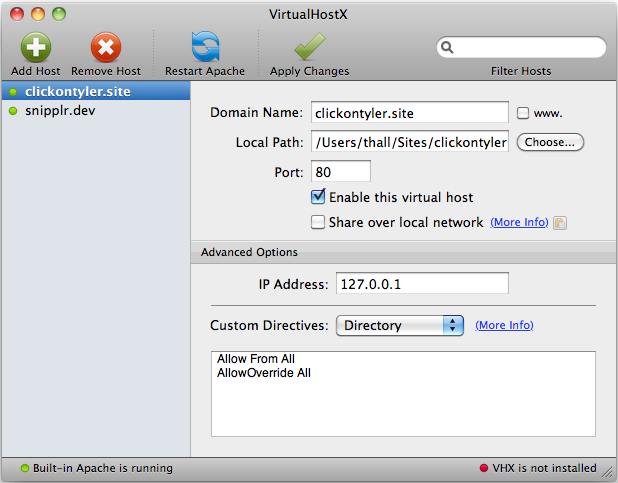 VirtualHostX 2.6 screenshot