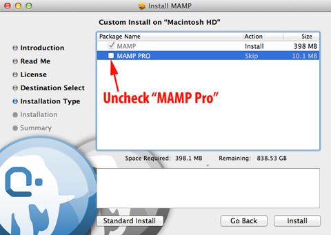 MAMP Installer Step 2