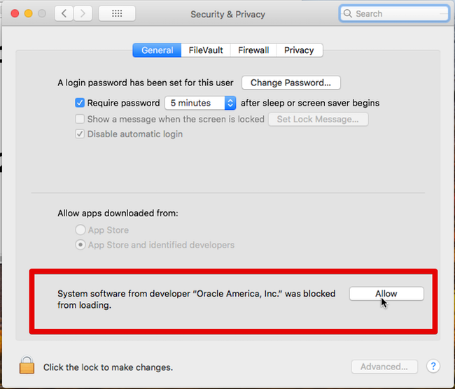Allow VirtualBox kernel extension in System Preferences
